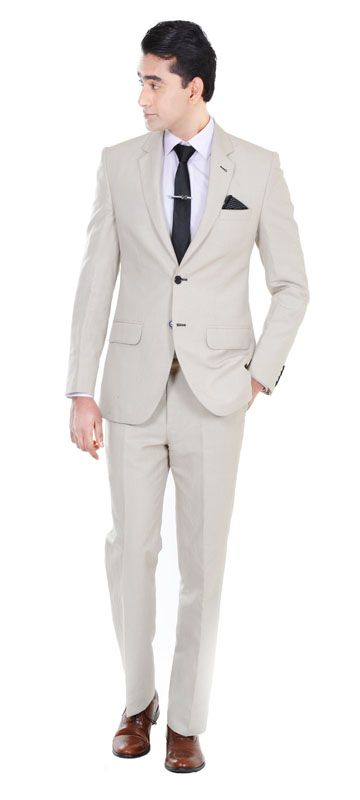 This custom beige suit is perfect for any outdoor event or party. Dawn it a pool party and be prepared to be the talk of the town. Perfect for Beach weddings and pool-side parties  100% Pure Linen  Light weight with a raw Khaadi finish  Perfect for Beach Weddings/ Informal Parties. Suitable for outdoor events / dinner parties  Perfect for warm weather conditions, you can style this suit in at least 100 different ways