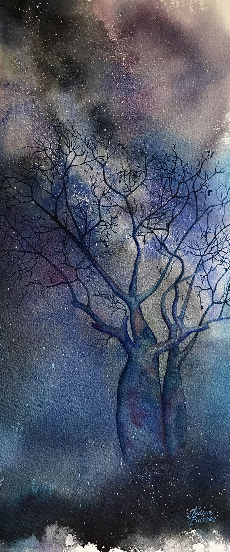 A Minute to Midnight by Jeanne Barnes. Watercolour on archival paper.