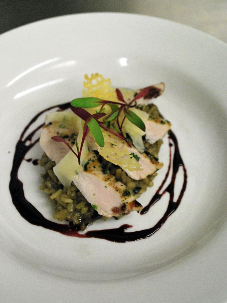 Porcini mushroom risotto with grilled chicken breast, sheep pecorino crisps and syrah syrup