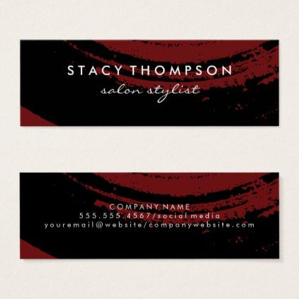 Artistic Brushed Black on Deep Red Mini Business Card - stylist