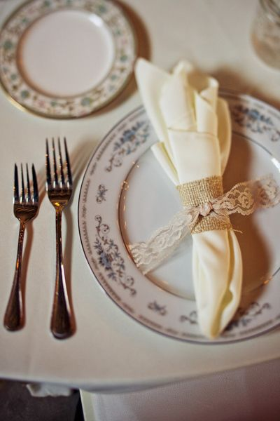 Lace over burlap--the mix of textures is great for a vintage wedding!
