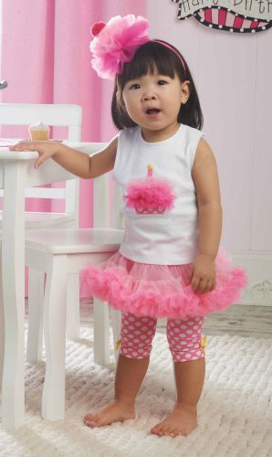 Mud Pie 2 Piece Birthday Outfit for Baby and Toddler Girls: Top with Chiffon Cupcake Applique and Petticoat Skirt with Attached Shorts.  This would be great for a first birthday party! $42.00