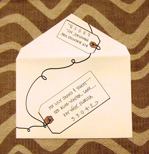 "combine a tag & an invitation envelope…..created this ""All Aboard!"" writing style bigflourish.com"