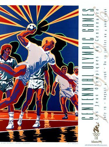 Atlanta 1996 OLYMPIC HANDBALL Official Event Poster by Hiro Yamagata - Available at www.sportsposterwarehouse.com