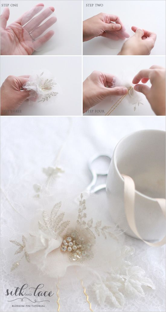 DIY Wedding Accessories. We have a super easy silk and lace blossom pin tutorial from Twigs and Honey. .