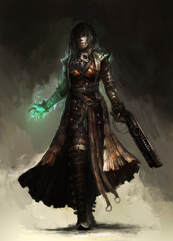 Shattered: Wretched by theDURRRRIAN female wizard warlock sorcerer witch sorceress bounty hunter gun shotgun laser plasma energy armor clothes clothing fashion player character npc | Create your own roleplaying game material w/ RPG Bard: www.rpgbard.com | Writing inspiration for Dungeons and Dragons DND D&D Pathfinder PFRPG Warhammer 40k Star Wars Shadowrun Call of Cthulhu Lord of the Rings LoTR + d20 fantasy science fiction scifi horror design | Not Trusty Sword art: click artwork for…