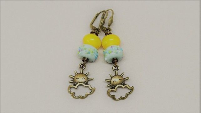 grey and yellow sunshine and cloud earrings £14.00