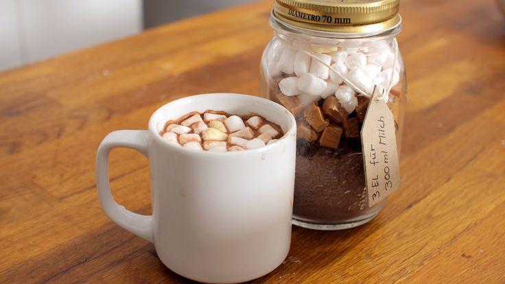 Heiße Schokolade Mischung im Glas