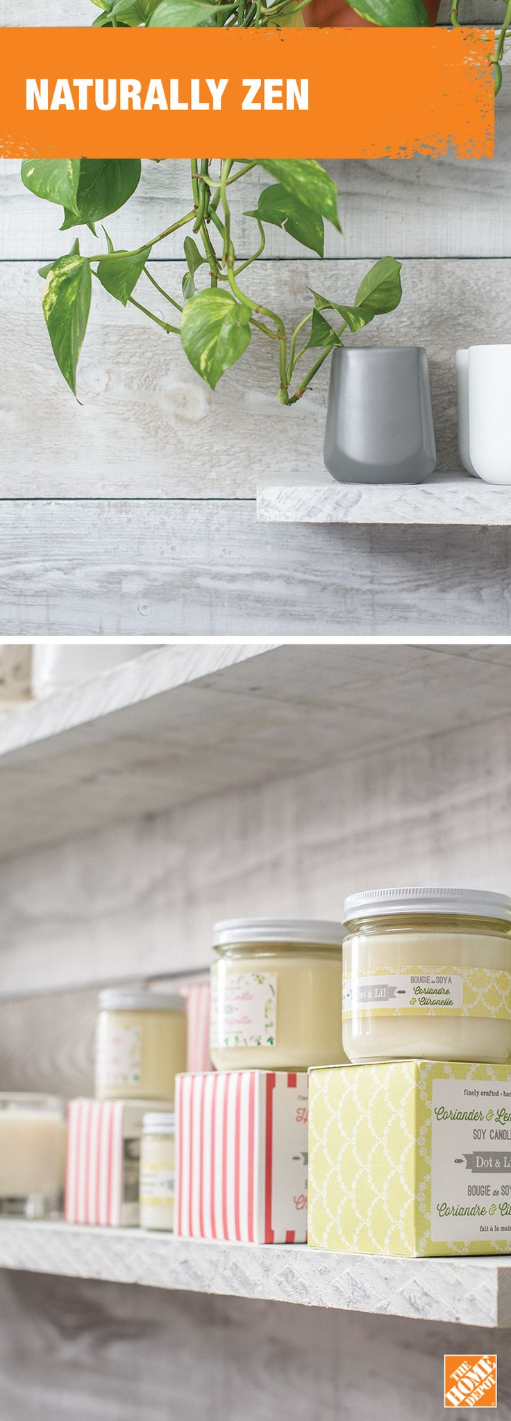 Feel cleansed and rejuvenated with a whitewashed barn board wall. Learn more at homedepot.ca.