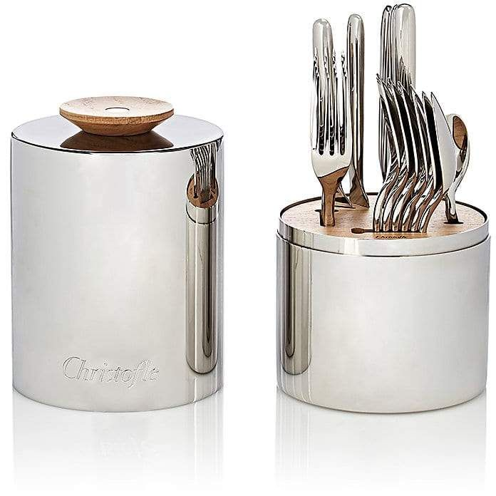 I just love this Christofle's Essentiel 24-piece stainless steel flatware set includes table knives, dinner forks, dinner spoons, and after-dinner teaspoons. Made in France, this refined assortment is completed with a matching cylindrical holder accented with a wooden handle and interior wooden and resin divider.