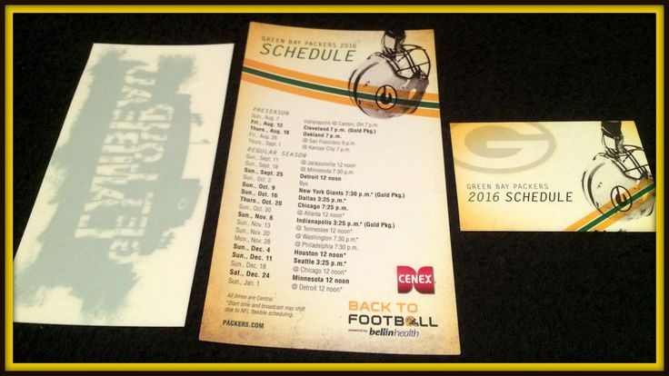 LOT OF 2 2016 CENEX GREEN BAY PACKERS SCHEDULE AND ONE 2016 WINDOW CLING LAMBEAU #Pocket #SCHEDULE