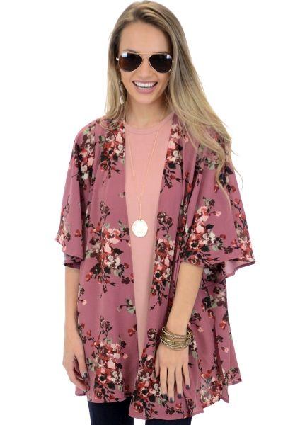 Garden Nights Kimono, Mauve :: NEW ARRIVALS :: The Blue Door Boutique