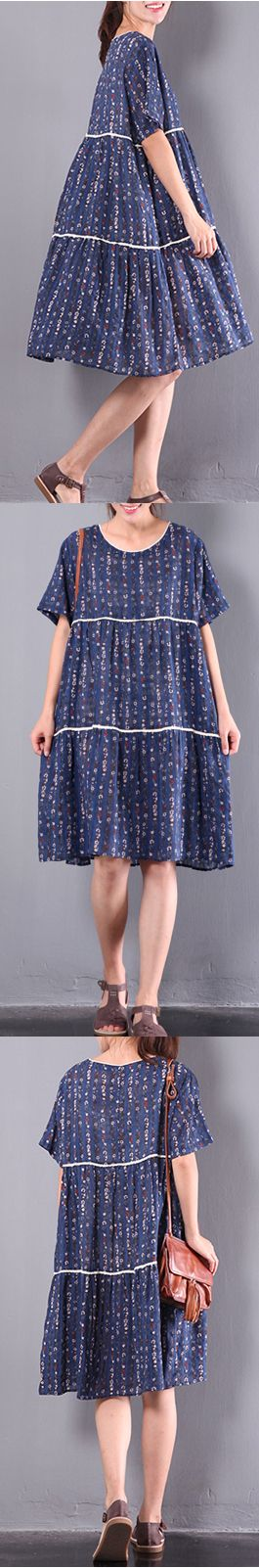 2017 blue floral linen dresses casual plus size sundress short sleeve women dress