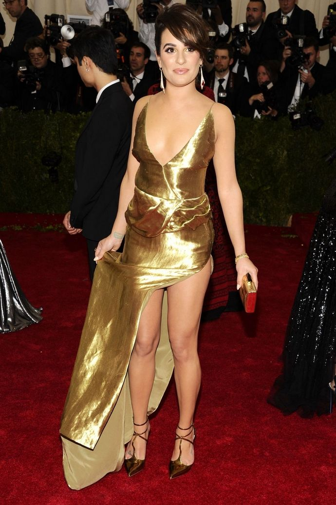 Wearing Joseph Altuzarra, Lea Michele looked a little Dynasty-gone-wrong in her glitzy gold dress with high split and that ageing up-do. Wrong dress, wrong event.