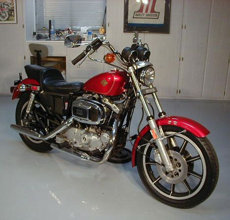 Picture of 1981 Sportster XLH Ironhead AMF Harley Davidson motorcycle in original factory paint by Randy.