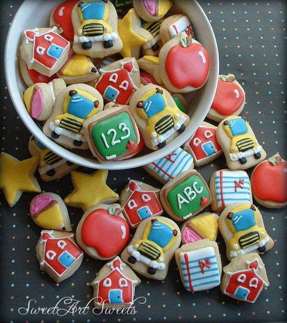 Back to school mini cookies teacher cookies 3 by SweetArtSweets