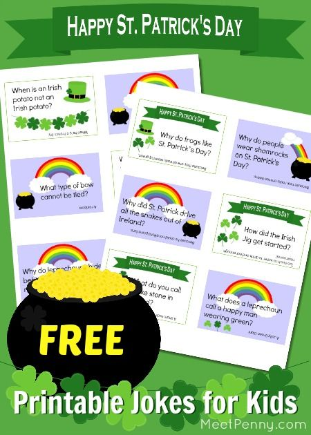 St Patrick's Day jokes for kids on free printable cards. Have some fun with your children this St Patrick's Day with these free printable jokes. Put them in lunchboxes or hide them around the house to be found throughout the day. Or, just have some laughs at dinner. #jokesforkids #freeprintablefriday