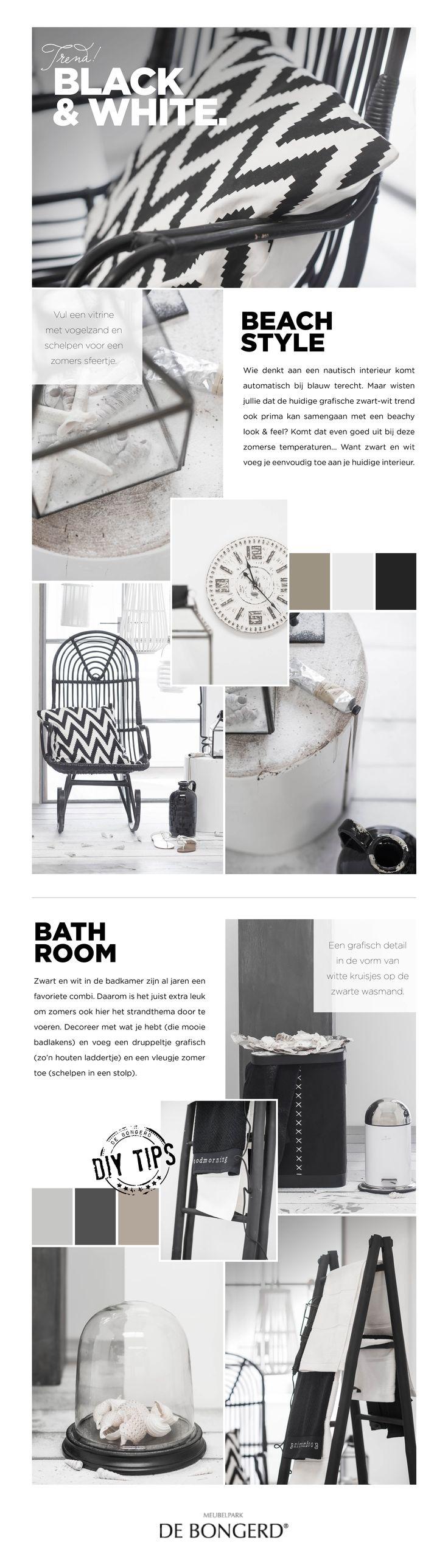 www.debongerd.nl Wie denkt aan een nautisch interieur komt automatisch bij blauw terecht. Maar wisten jullie dat de huidige grafische zwart-wit trend ook prima kan samengaan met een beachy look & feel? Komt dat even goed uit bij deze zomerse temperaturen… Want zwart en wit voeg je eenvoudig toe aan je huidige interieur. http://www.debongerd.nl/style/week-30-the-black-white-issue/S86
