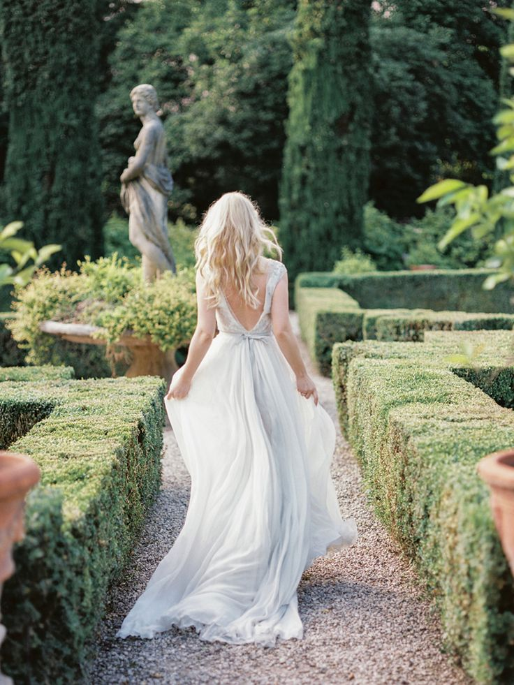 Romantic Verona Wedding Shoot in soft pinks and ivory colours + blue wedding gown | fabmood.com