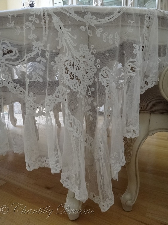 Stunning Antique Irish Linen and Lace Tablecloth or Coverlet