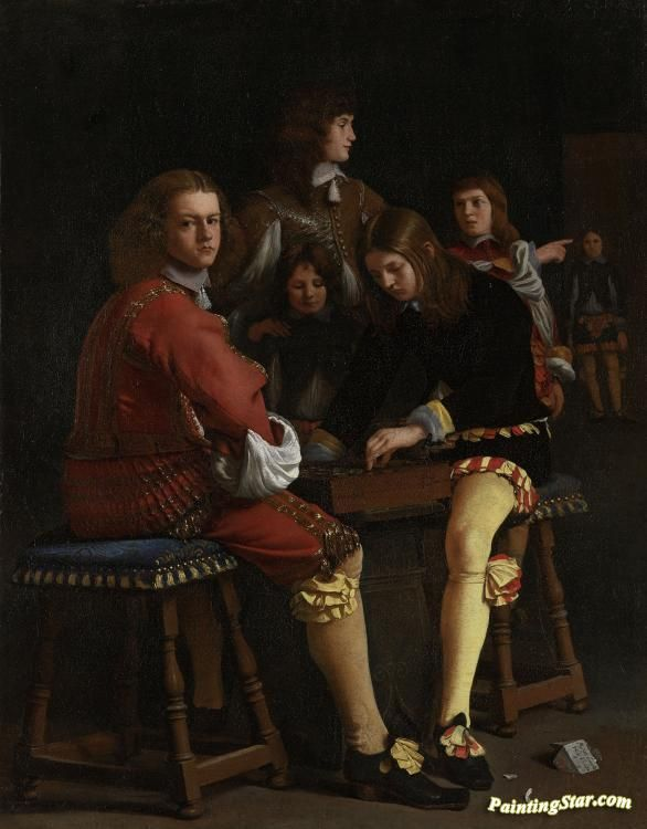 Damspelers Artwork by Michael Sweerts Hand-painted and Art Prints on canvas for sale,you can custom the size and frame