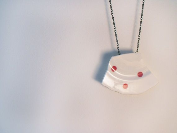 Pink Polka Dot Broken Plate Necklace by VioletJewelleryCo on Etsy