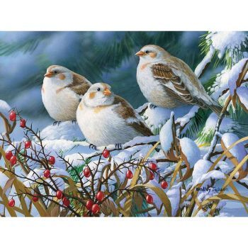 """""""Seeking Shelter-Snow Buntings"""" (100 pieces)"""