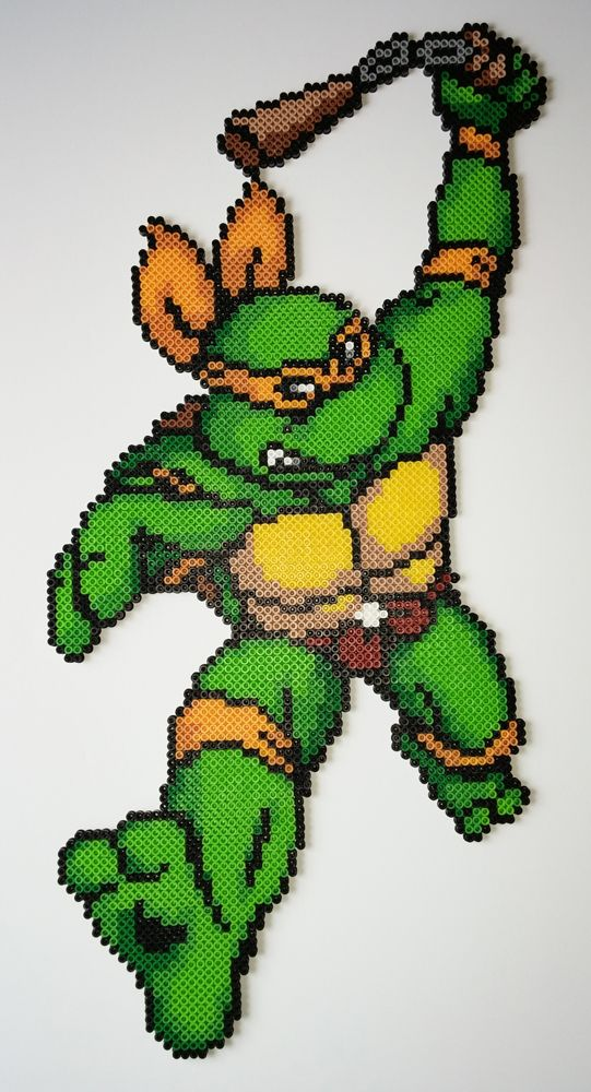 And the last turtle I needed to finish. All three of them needed some sprite editing to get them their full length weapons, since the original art cuts them off. Wasn't too hard for Don...