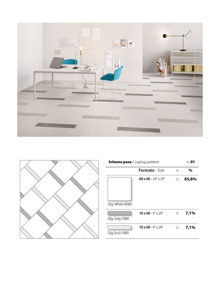 Create this unique floor pattern using our DigitalArt series, a porcelain tile available in a variety of colours and shapes.