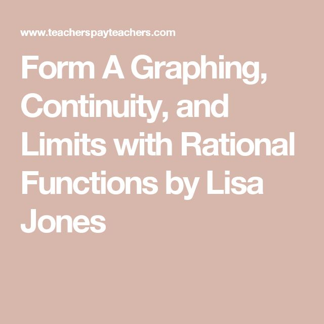 Form A Graphing, Continuity, and Limits with Rational Functions by Lisa Jones