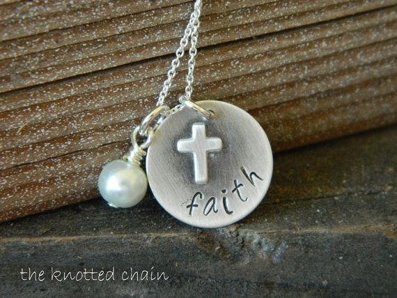 Sterling Silver Necklace with Word Faith and a by theknottedchain, $30.00