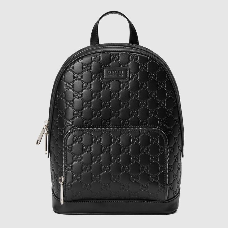 GUCCI Gucci Signature Leather Backpack - Black Gucci Signature. #gucci #bags #lining #backpacks #suede #