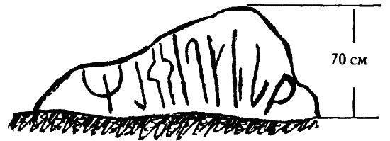 4.6. Напоминающие руническую письменность знаки нa камне близ озера Уклейно в Тверской области. Прорисовка Д.?И.?Маланина, 1981 год