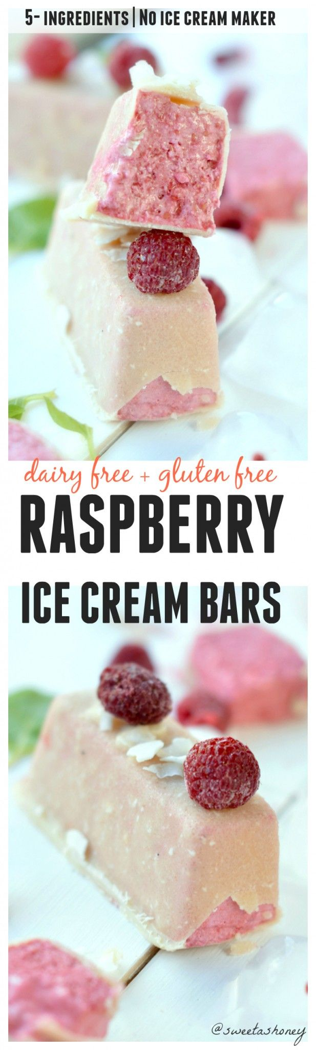 Creamy raspberry coconut ice cream bars.without ice cream makers. Only 5 ingredients! Clean eating ice cream! Vegan, gluten free, no refined sugar.
