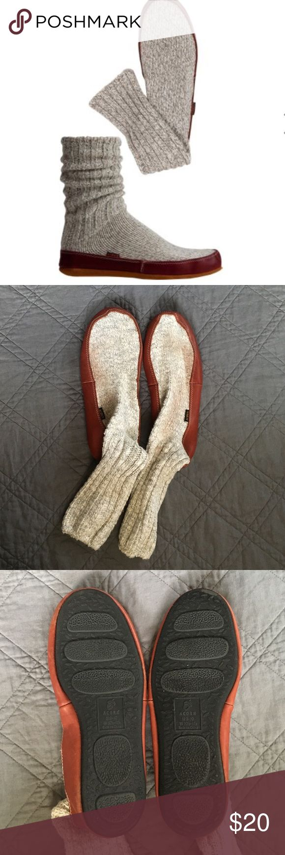 Acorn Ragg Wool Slipper Socks SZ M 9-10 This is a pair of acorn slipper socks, In FAIR pre-owned condition. Some signs of wear and tear & some smudging, pulling & light snagging - ALL superficial -probably could be washed? see pic #4. Traditional ragg wool slipper socks have been worn on NASA space flights and have top-grain leather soles.  Suede Leather Sole, Foam Insole 85% Wool, 13% Nylon, 2% Spandex  Care Handwash in cold water with mild soap, gently squeeze.Avoid harsh rubbing. Dry at…