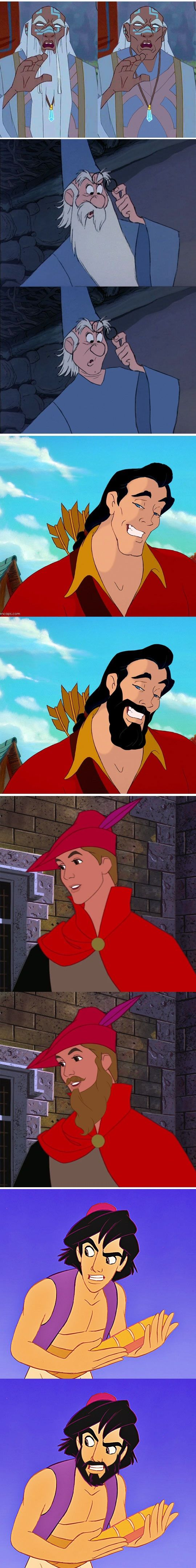 Disney Dudes with and without beards. Aladdin with a beard looks JUST like my husband! Lol!