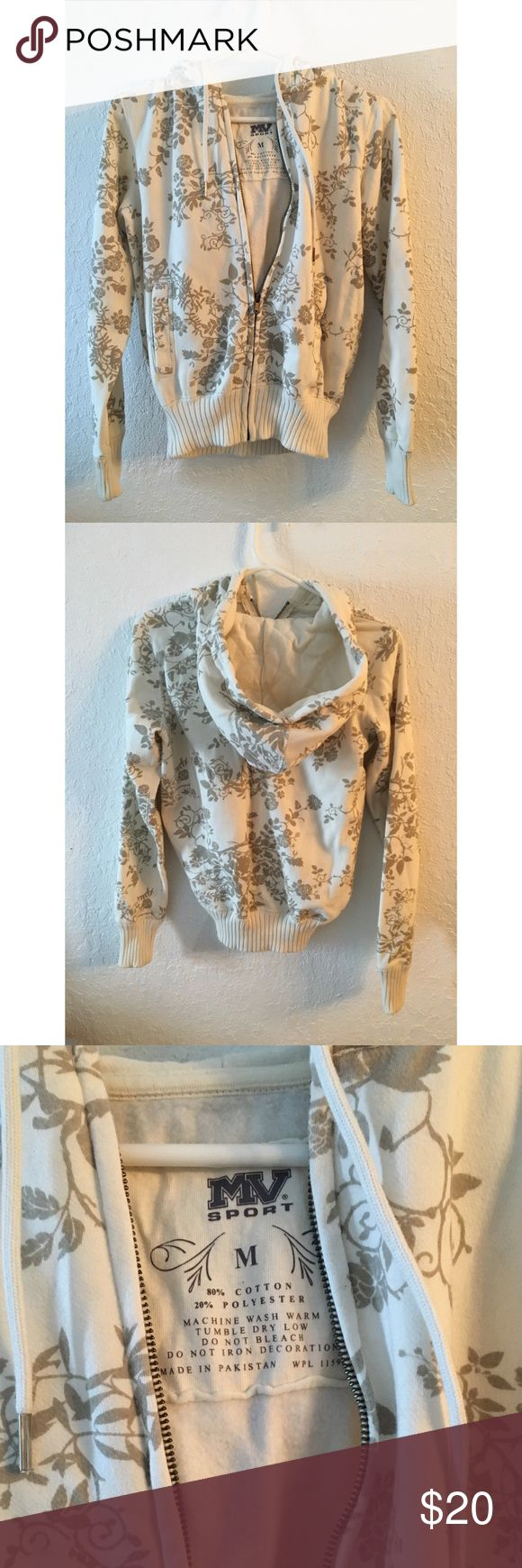 Floral Zip Up Size medium. Cream and tan floral pattern. Zip up and super comfy. Tops Sweatshirts & Hoodies