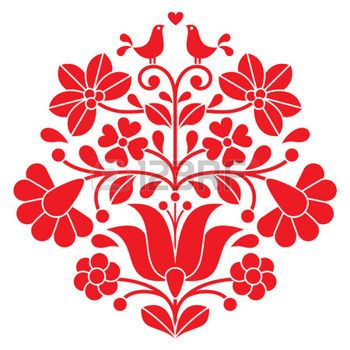 hungarian folk: Kalocsai red embroidery - Hungarian floral folk pattern with birds Illustration