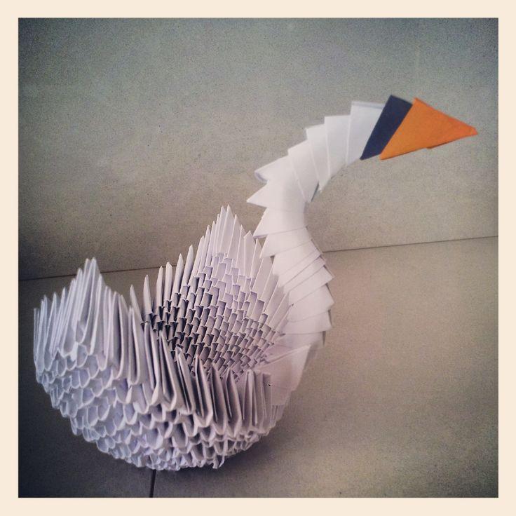 Origami modulari 3d: cigno