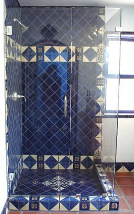 Robert Shower 271×432 Pixels. Spanish BathroomDark BlueColonialVintage  StyleBathroomsTile