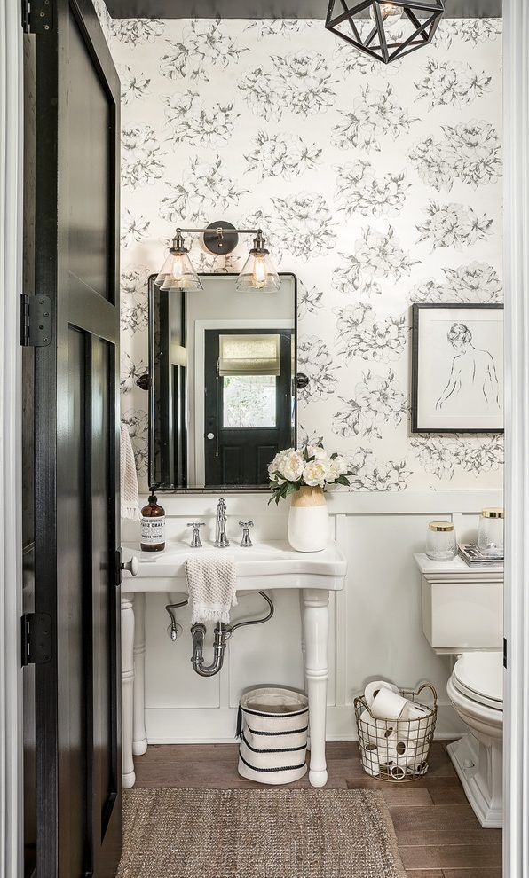 Chicago Toile Wallpaper Black And White Powder Room Farmhouse With
