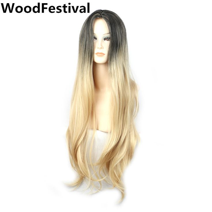 woman straight ombre long blonde wig dark roots blonde hair cosplay women synthetic wigs heat resistant fiber WoodFestival