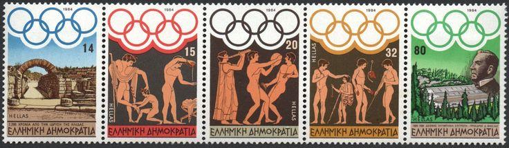 #1499a Greece - 1984 Summer Olympics, Strip of 5 (MNH)