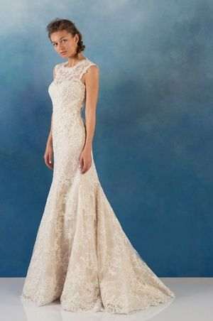 High Neck Fit and Flare Wedding Dress  with Natural Waist in Lace. Bridal Gown Style Number:33236845