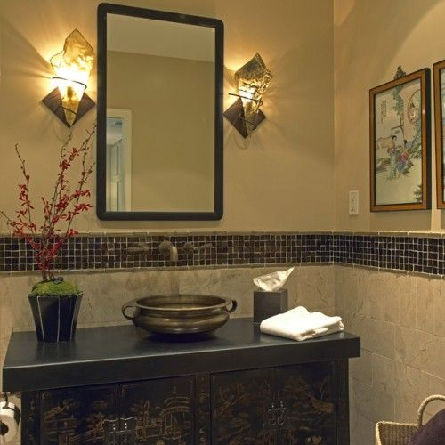 Bathroom tile love the idea of tiling half the wall with colored tile trim makes it a little - Small half bathroom tile ideas ...