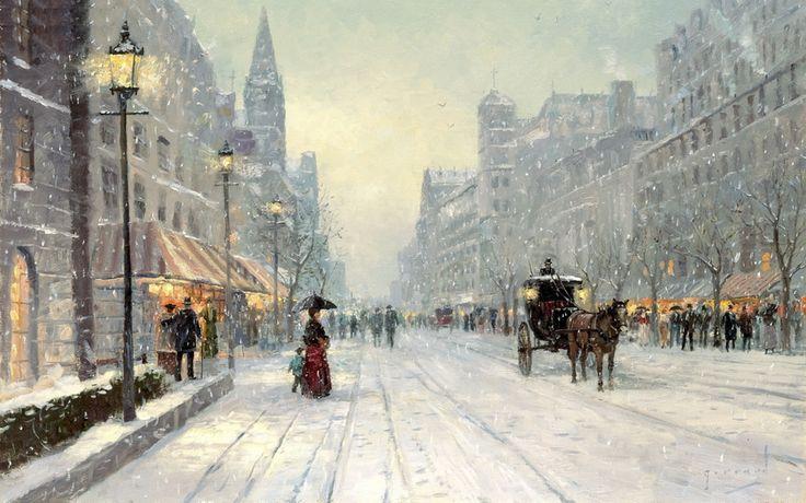 город, проспект, зима, снег, хлопья, дома, томас кинкейд, живопись, картина, winters dusk, thomas kinkade
