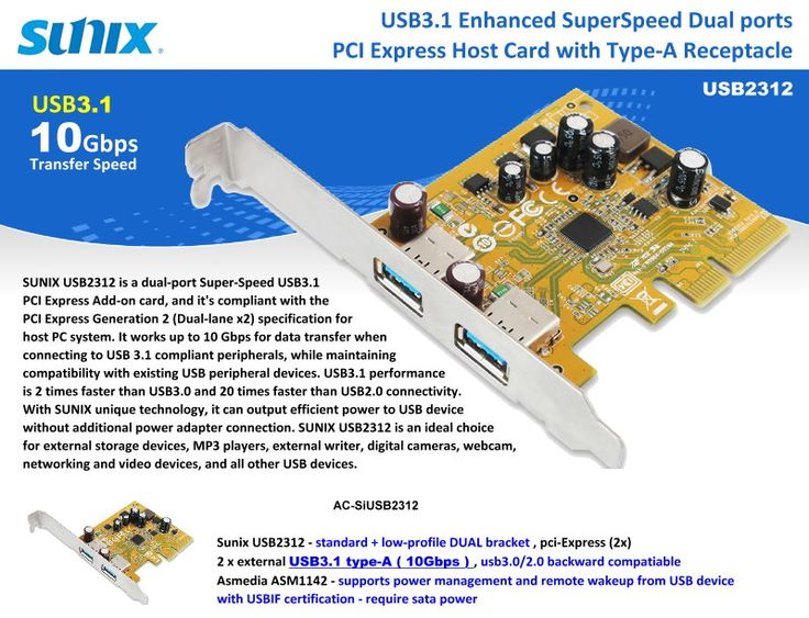 USB3.1 Enhanced SuperSpeed Dual ports. PCI express Host Card with Type-A Receptacle