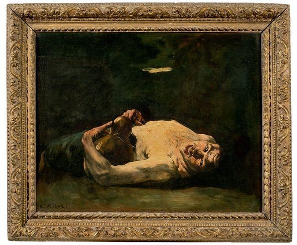 Théodule Ribot (1823 Saint-Nicolas-d'Attez–1891 Colombes) La gourde vide (Die leere Fl