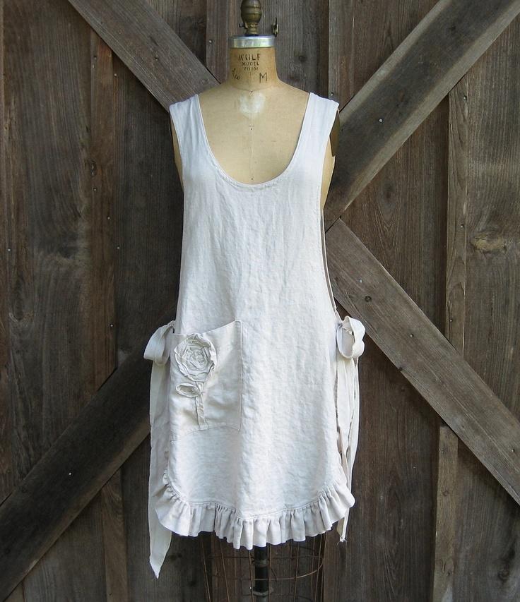 linen jumper pinafore apron dress, via Etsy.