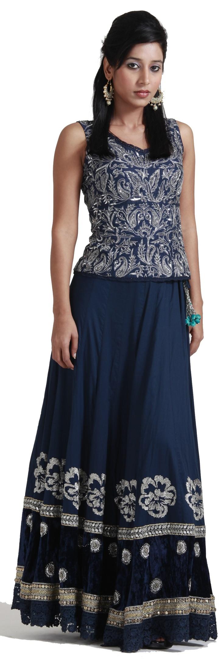 Blue embroidered lehenga choli - #LEHENGAS - #WOMEN'SWEAR
